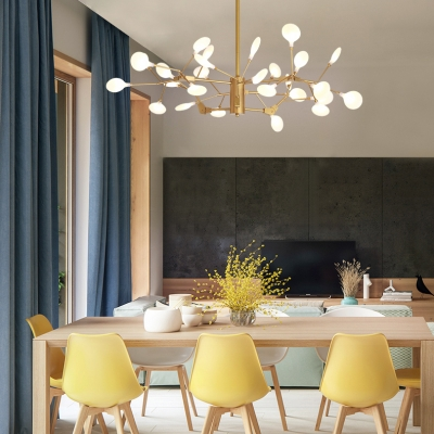 Metal Branch Hanging Lamp 27 Lights Modern Style Chandelier in Brass for Restaurant Coffee Shop