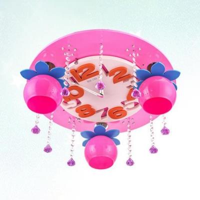 Metal Clock Flush Ceiling Light 3 Lights Creative Flush Mount Light with Crystal Decoration for Kindergarten