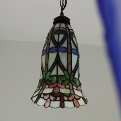 Multi-Color Bucket/Bell Pendant Light Tiffany Inca/Baroque Glass Hanging Light for Cafe
