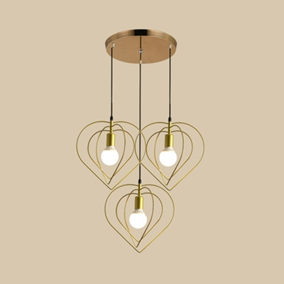 Restaurant Heart Wire Frame Ceiling Light Metal 3 Lights Vintage Gold Hanging Lamp