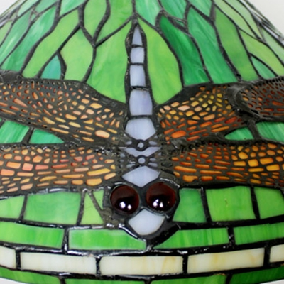 Rustic Dragonfly Hanging Lamp 1 Light Stained Glass 16 Inch Ceiling Pendant in Green for Stair
