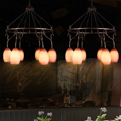 Rustic Style Curved Chandelier 6 Lights Glass Metal Suspension Light in Purple for Cafe Bar