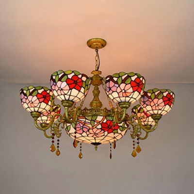 Stained Glass Flower Chandelier Living Room 9 Lights Tiffany Style Rustic Pendant Light with Crystal