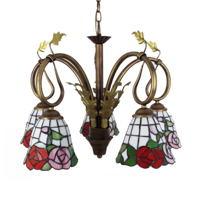 Stained Glass Flower Chandelier with Leaf 5 Lights Tiffany Style Pendant Light for Dining Room
