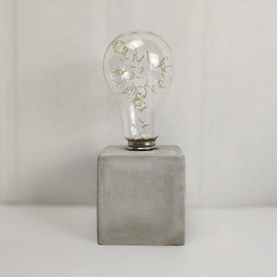 Study Room Bare Bulb Desk Light Cement 1 Light Retro Loft Gray Table Light with Cylinder/Square/Polygon Body