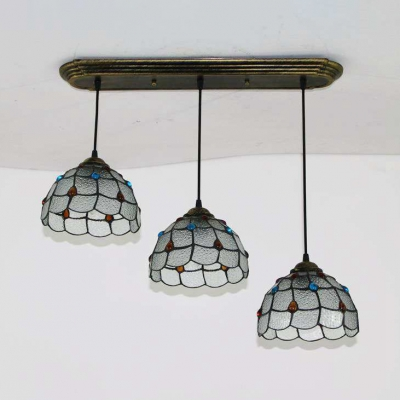 Tiffany Lattice Bowl Pendant Lamp Dining Room 3 Lights Beige/Dimple Glass Hanging Light