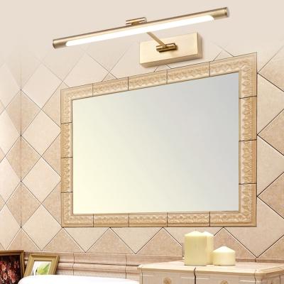 Tube Bathroom LED Wall Light Acrylic 18/23/30 Inch Rotatable Gold Vanity Light with White Lighting