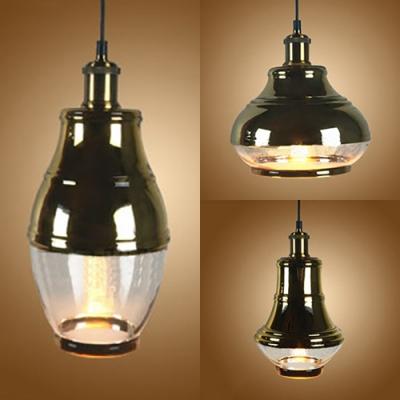 Vintage Bottle/Globe/Urn Ceiling Pendant Clear Glass Brass Hanging Light for Kitchen