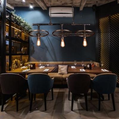 Wheel & Chain Restaurant Pendant Lamp Metal 3 Lights Industrial Hanging Light in Rust