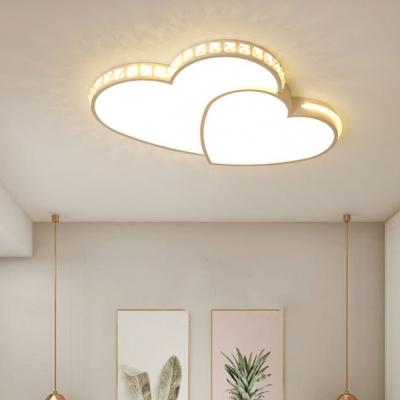 White Heart Ceiling Light Modern Acrylic LED Pendant Light with White Light for Child Bedroom
