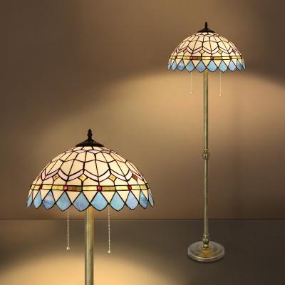 2 Lights Umbrella Floor Light Mediterranean Style Stained Glass Standing Light for Restaurant