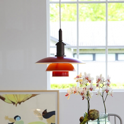 3 Layers Ceiling Light Designers Style Metal Hanging Lamp in Matte Green/Red/Yellow