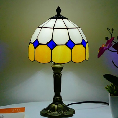 Traditional Style Bowl Desk Lamp 1 Head Art Glass Resin Desk Light with Brass Body for Hotel