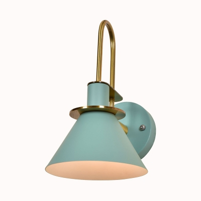 Funnel Study Room Wall Lamp Metal 1 Light Nordic Style Wall Light in Black/Green/Gray/White