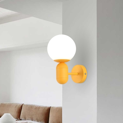 Orb Shade Child Bedroom Wall Light Frosted Glass 1 Light Macaron Loft Sconce Light in Blue/Pink/Yellow