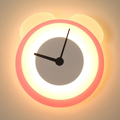 Acrylic Clock Wall Light Cute Pink Sconce Light in White/Warm for Boy Girl Bedroom