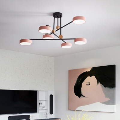 Art Deco Round Chandelier 6 Heads Acrylic Macaron Colored Pendant Light for Kindergarten