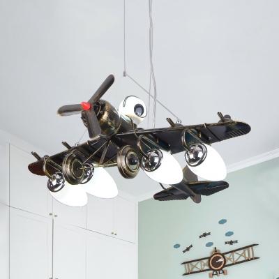 Boys Bedroom Propeller Airplane Pendant Light Metal Antique Style Hanging Light