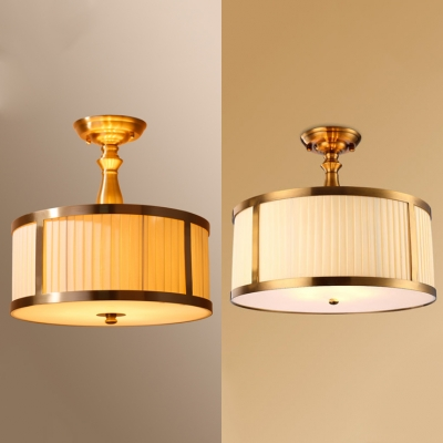 Brass Drum Semi Ceiling Mount Light 5 Lights Rustic Style Glass Ceiling Lamp for Dining Room Hotel