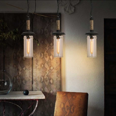 Clear Glass Tube Pendant Light 1 Light Retro Style Hanging Light in Beige for Shop Restaurant