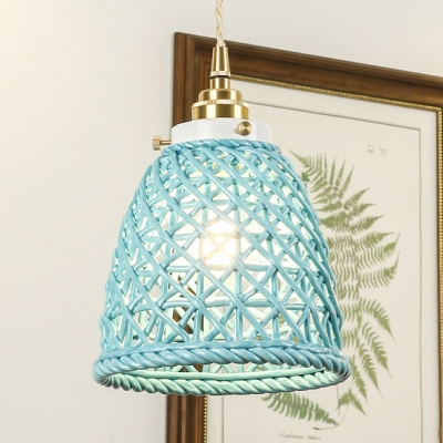 Contemporary Hollow Dome Suspension Light One Light Ceramics Pendant Light in Blue/Gray/White for Dining Room