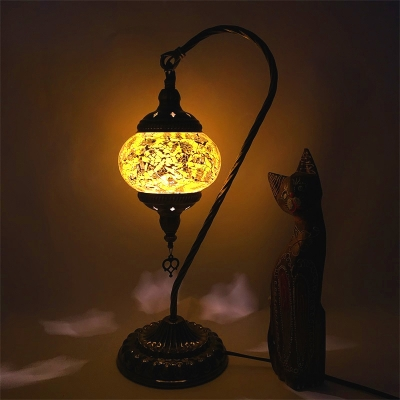 Cracked Glass Lantern Desk Light Hotel One Light Art Deco Table Light with 6 Color Choice