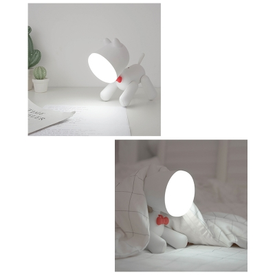 Creative Dog LED Desk Light 1 Head Brown/White Reading Light with USB Charging Port for Bedroom