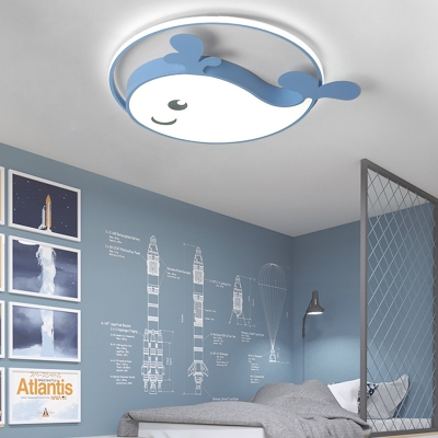 Cut Dolphin LED Ceiling Fixture Metal Blue/Pink/White Flush Mount Light for Child Bedroom