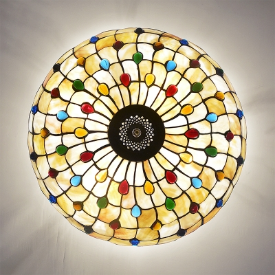Dome Shade Pendant Lamp with Colorful Beads Vintage Style Glass Chandelier in Beige for Dining Room