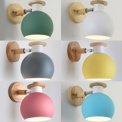 Foyer Hallway Globe Wall Light Metal 1 Light Modern Macaron Color Sconce Light with Adjustable Angle