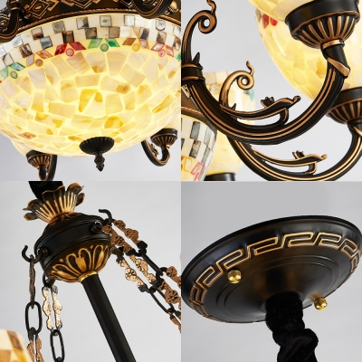 Glass Dome Shade Chandelier Living Room Glass Metal Vintage Ceiling Pendant in White