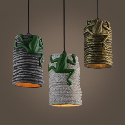Industrial Cylinder Suspension Light with Frog Cement 1 Light Pendant Light for Restaurant