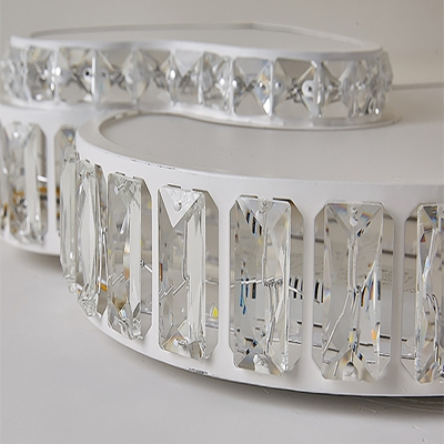 Kindergarten Heart LED Flush Mount Light Acrylic Contemporary White Lighting Ceiling Light with Crystal