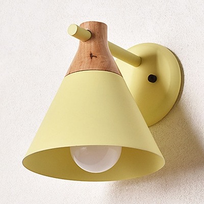 Kitchen Bedroom Conical Wall Light Metal 1 Light Simple Style Macaron Colored Sconce Light