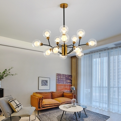 Modern Plant Shade Chandelier Glass & Metal 9/12/15 Lights Brass Hanging Lamp for Living Room