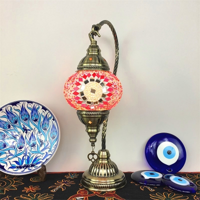Mosaic Blue/Orange/Red Desk Light Lantern Shape 1 Light Stained Glass Table Lamp for Cafe