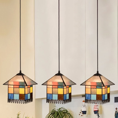 Multi-Color House Pendant Lamp 3 Light Tiffany Antique Style Glass Hanging Light for Kitchen