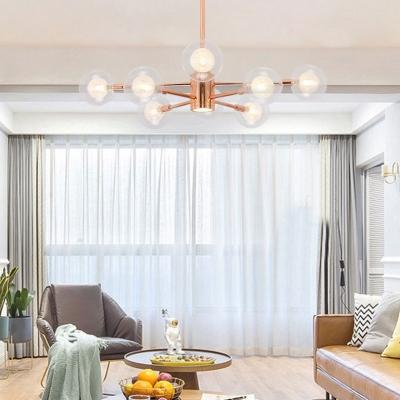 Restaurant Globe Shade Ceiling Light Clear Glass 6/8/10/12 Modern Lights Rose Gold Chandelier