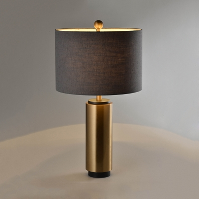 Simple Style Gray Study Light Drum Shade 1 Light Metal & Fabric Desk Light for Villa Hotel