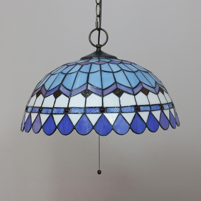 Stained Glass Bowl Pendant Lamp with Pull Chain 16 Inch Vintage Style Hanging Light for Bar