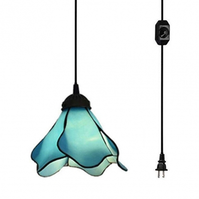 Traditional Flower Ceiling Light 1 Light Blue Glass Hanging Lamp with Plug In Cord for Stair