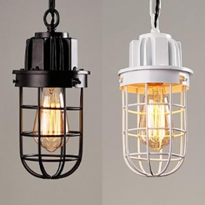 Vintage Bulb Wire Frame Pendant Light 1 Light Metal Hanging Light in Black/White for Cafe, HL535518