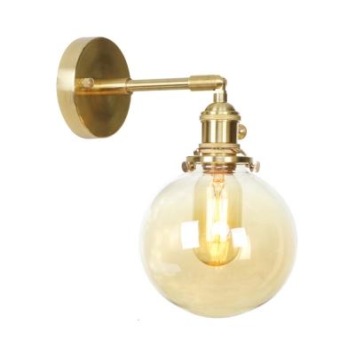 Vintage Style Globe Wall Light 1/2 Pack 1 Light Amer Glass Sconce Light in Brass for Kitchen