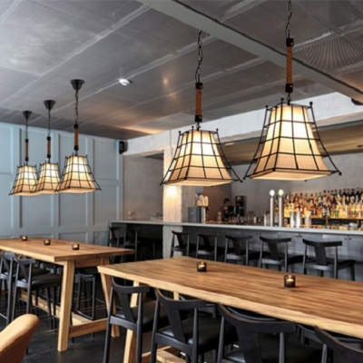 White Tapered Pendant Lamp with Cage 1 Light Rustic Style Fabric Hanging Light for Shop Bar