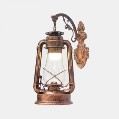 Wrought Iron Hanging Kerosene Sconce Balcony One Light Rustic Stylish Wall Light in Antique Copper/Black/Heritage Brass