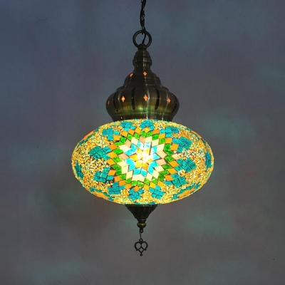 1/5 Pack Oval Hanging Lamp 1 Light Turkish Stained Glass Ceiling Light for Restaurant(not Specified We will be Random Shipments)