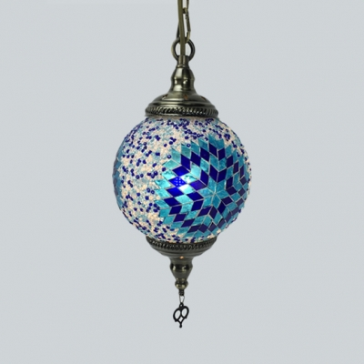 1 Light Globe Pendant Light 1/4 Pack Mosaic Stained Glass Hanging Lamp for Cloth Shop(not Specified We will be Random Shipments)