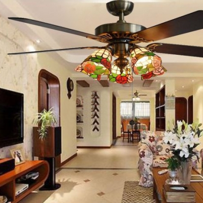5 Lights Floral Ceiling Fan Rustic Stained Glass Semi Flush Mount Light with Blade for Restaurant