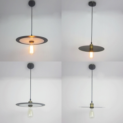 Metal Dish Pendant Light with Bare Bulb Corridor One Light Retro Loft Hanging Lamp in Black