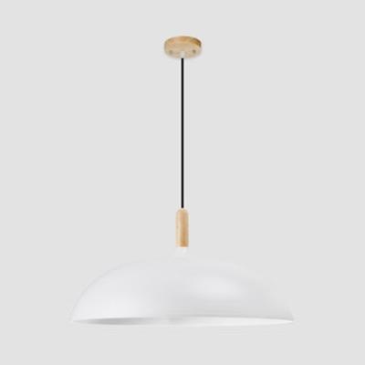 Saucer Shade Dining Table Hanging Light Metal One Light Macaron Loft Pendant Light in Black/Coffee/White